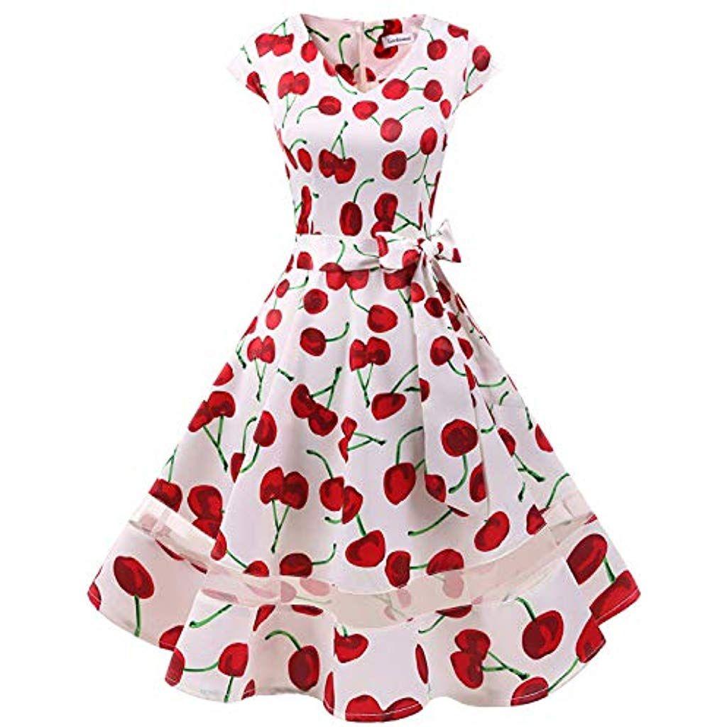 Gardenwed 1950er Vintage Retro Cocktailkleid Cap Sleeves Rockabilly Kleider Damen Schwingen Petticoat Faltenrock