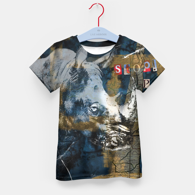 Stop Rhino Poachers Wildlife Conservation Art Kid's T-shirt