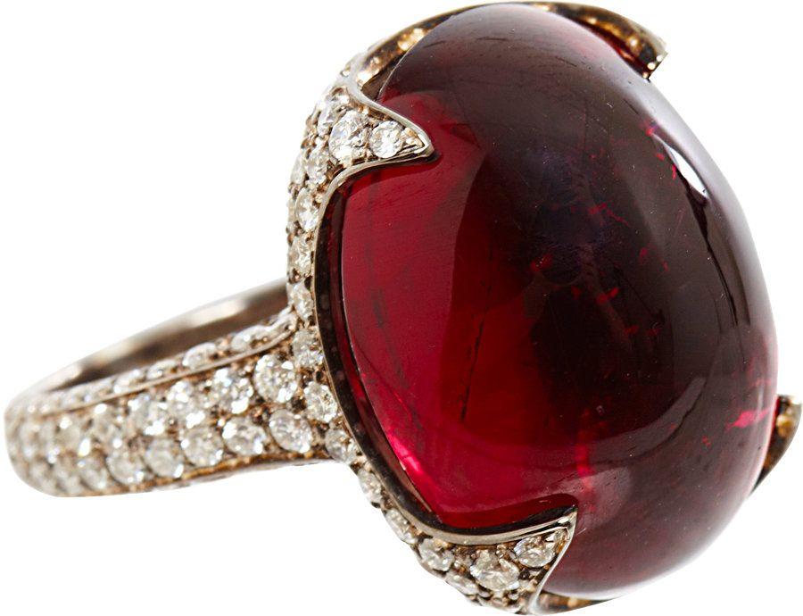 Rubellite and diamond ring.