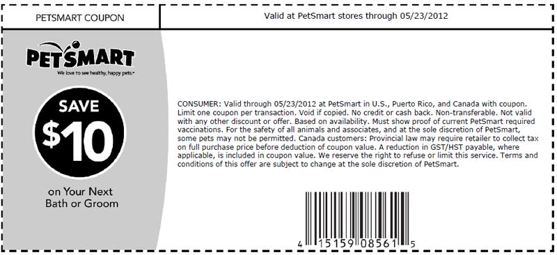 PetSmart 10 off Grooming Printable Coupon Print coupon