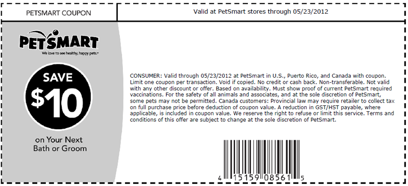 graphic regarding Printable Pet Coupons named PetSmart: $10 off Grooming Printable Coupon - Print coupon