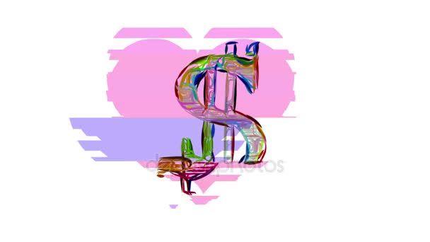 Drawn line dollar sign and heart shape cartoon glitch