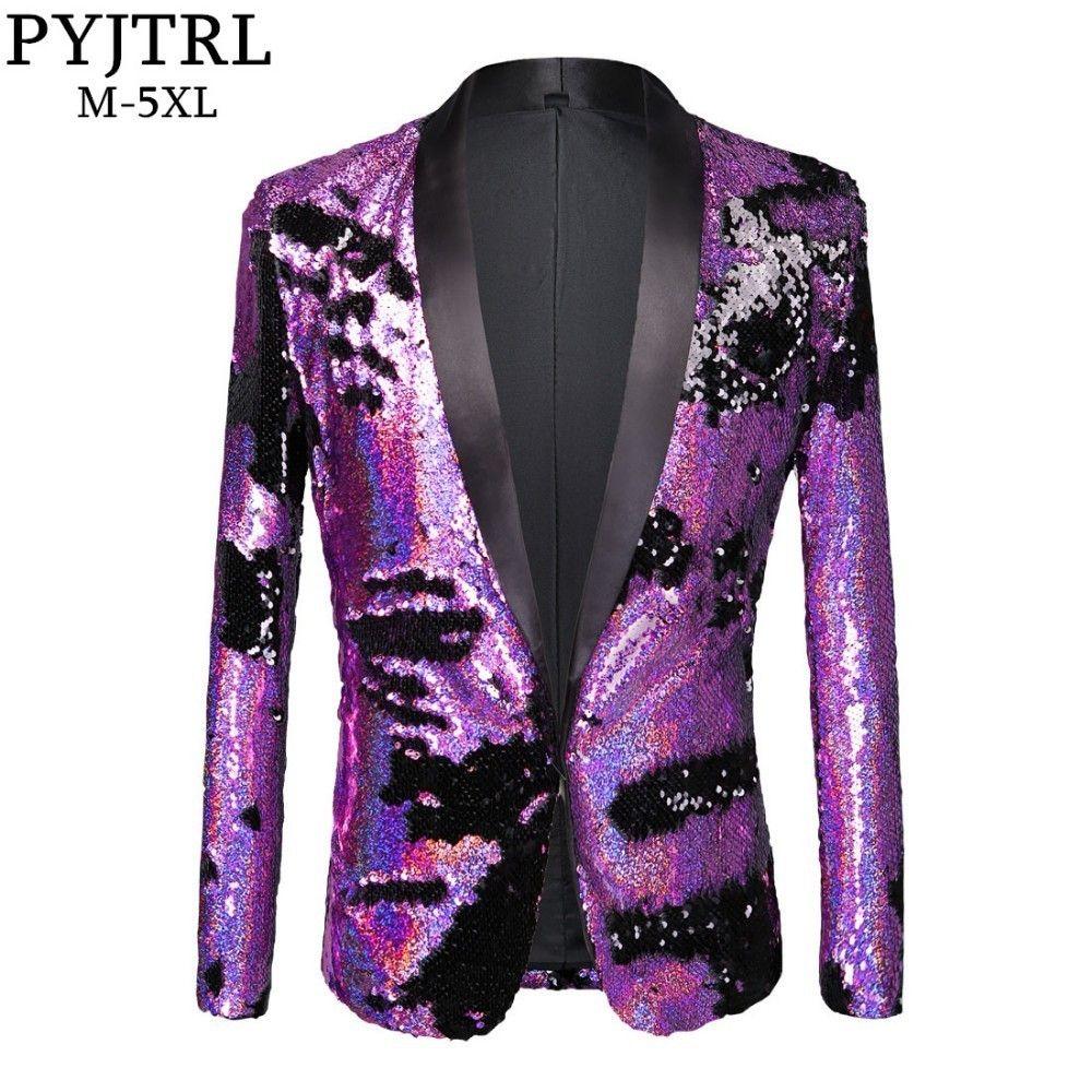 ec9e4abc0ae PYJTRL Tide Men Double-Color Purple Black Gold White Sequins Blazer Fashion  Punk Nightclub Bar DJ Singers Suit Jacket Costumes Review