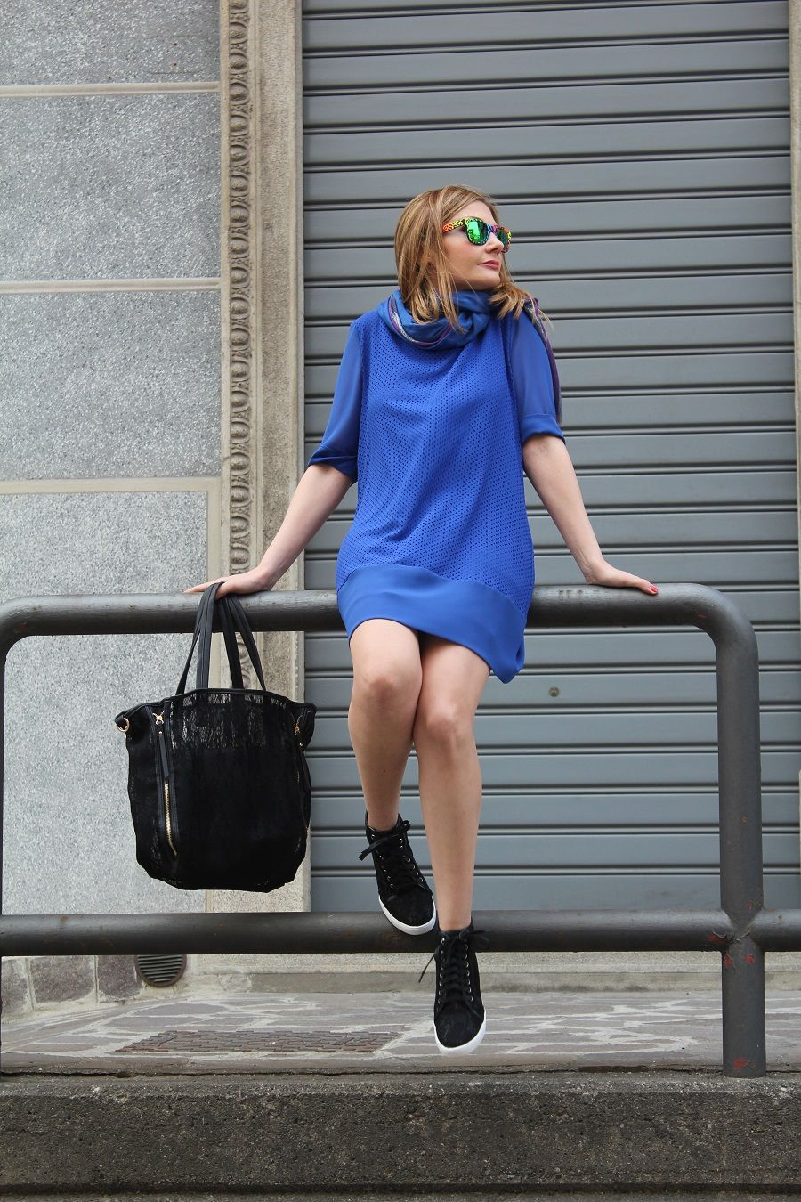Royal blue t shirt dress sporty chic outfit kissmylook for Blue dress shirt outfit