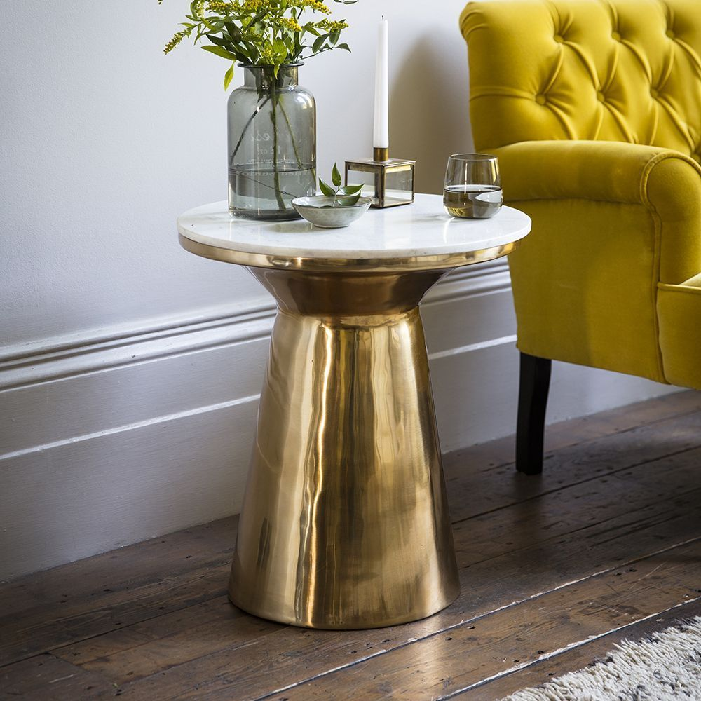 Castello Marble Side Table Marble Side Tables Gold Side Table