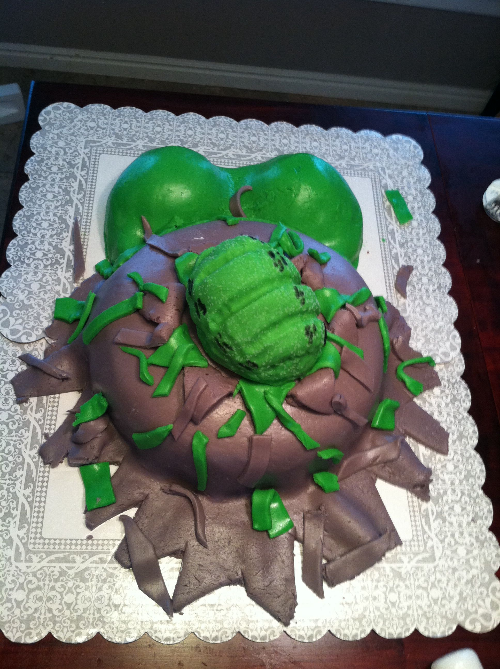 Baby Shower Cake Hulk Fist Coming Out Of The Belly Decorating And