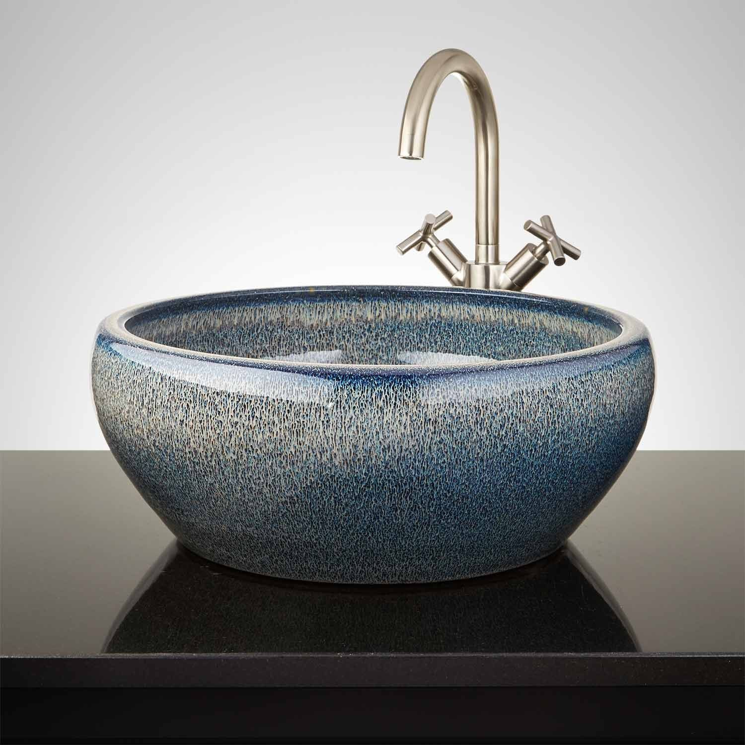 Carrasco Hand Glazed Vessel Sink Ocean Blue Vessel Sinks