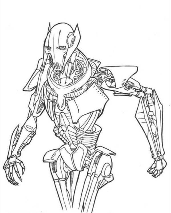 wars coloring pages grievous with images