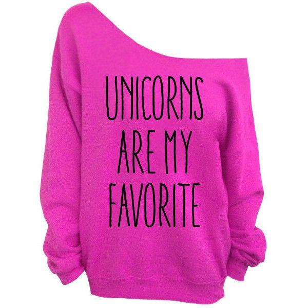Unicorns are my Favorite - Pink Slouchy Oversized Sweatshirt (£20) ❤ liked on Polyvore featuring tops, hoodies, sweatshirts, shirts, sweaters, pink sweatshirts, pink shirts, pink jersey shirt, sleeve shirt and unicorn sweatshirt