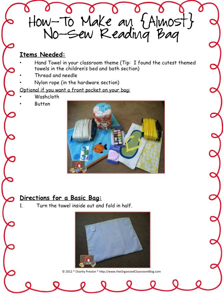Make Your Own Almost No Sew Themed Book Bags Classroom