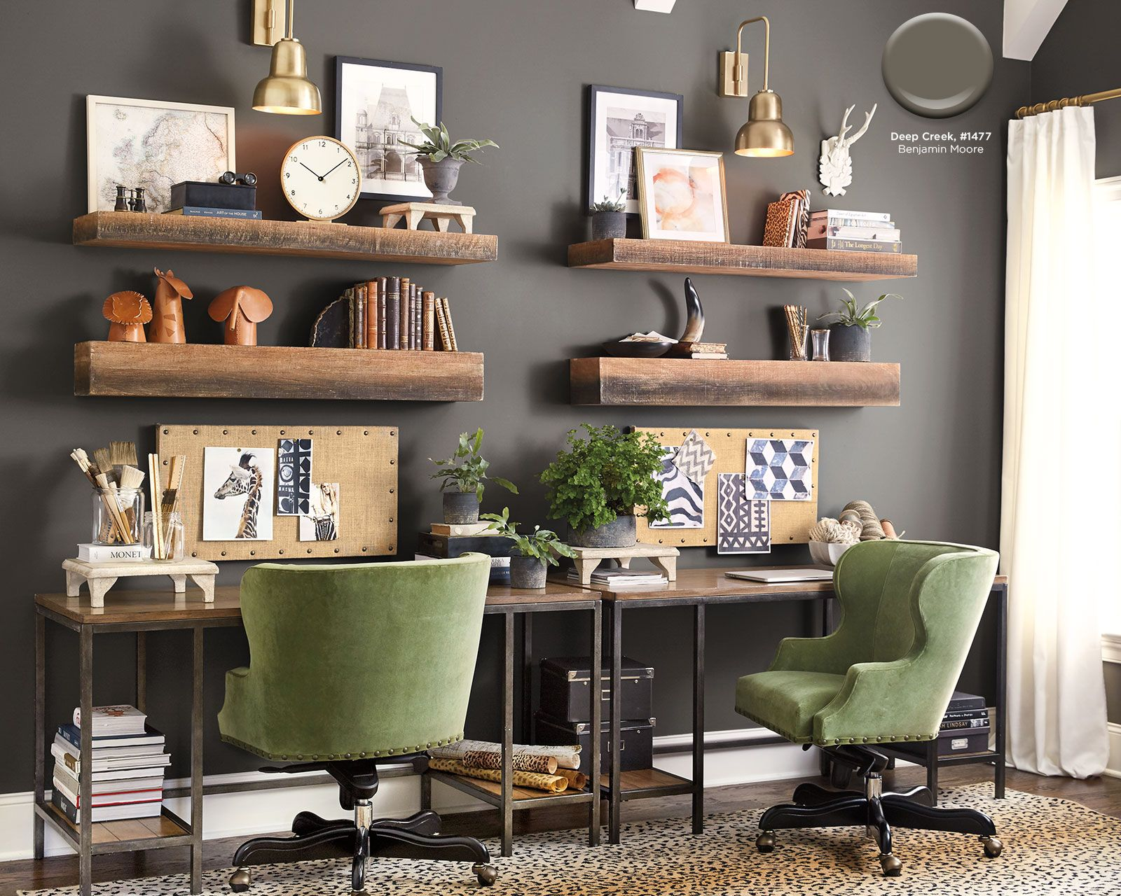 Benjamin moores deep creek paint color in ballard designs catalog office decor home office