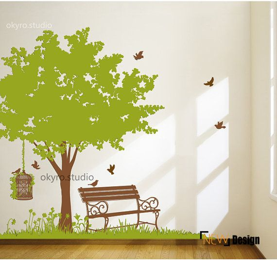 Tree Wall Sticker Large Tree Wall Decal Spring Wall Sticker Spring