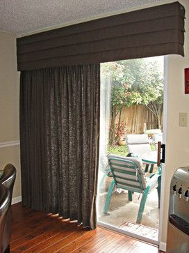Window Treatments With Cornices For Sliding Glass Doors Drapery