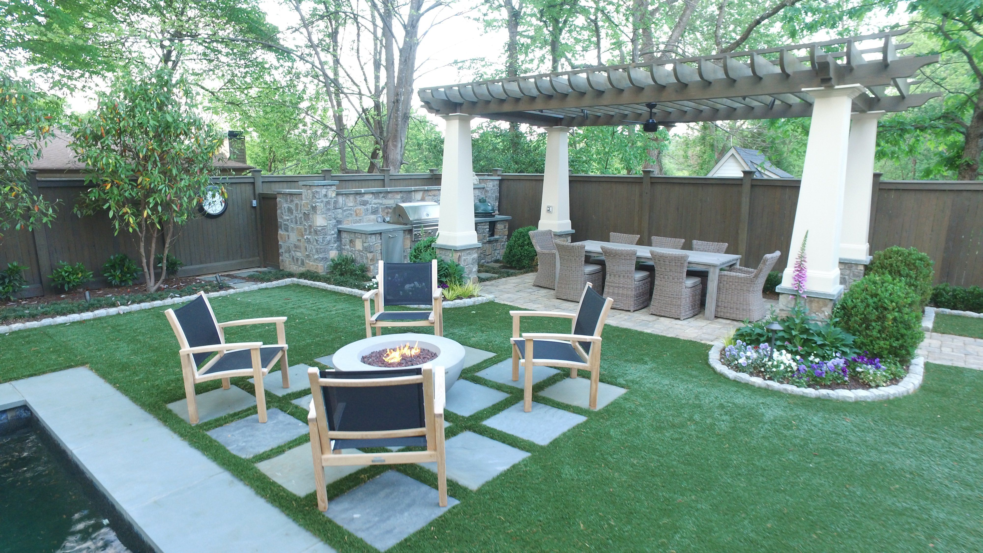 Atlanta In-Town backyard with fire feature, water feature and ...