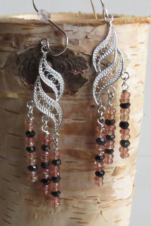 chandelier earrings Black earrings clip on earrings wire wrapped earrings Dangle /& Drop Earrings gemstone earrings statement earrings