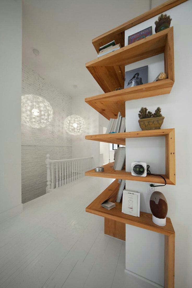 beautiful wood shelves that wrap around a