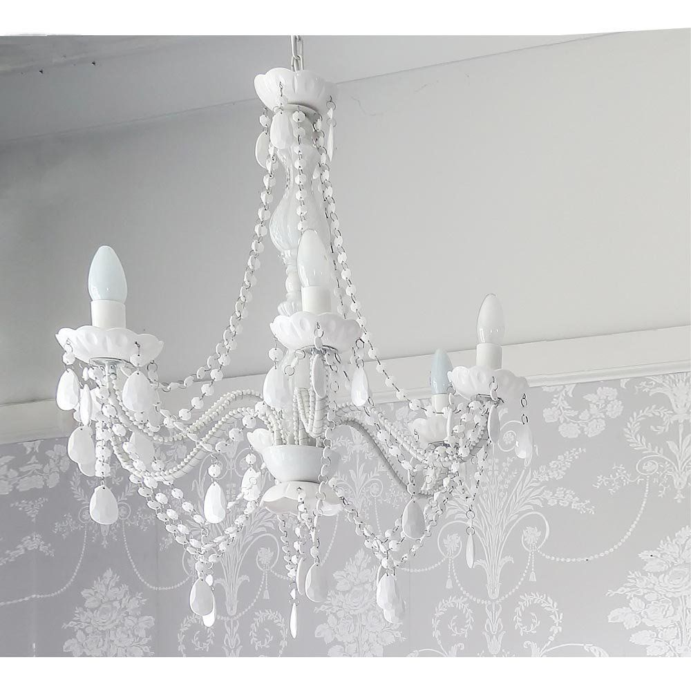 Skinny Mimi White Chandelier French Bedroom Chandelier