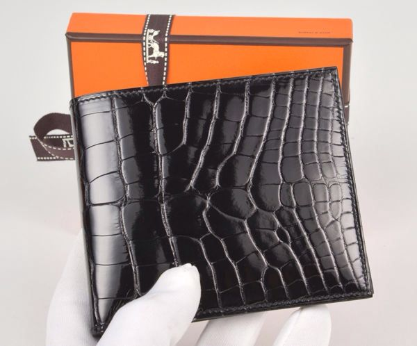 5025ae0d08ca Hermès Shiny Black Crocodile Copernic Wallet | Hermès in 2019 ...