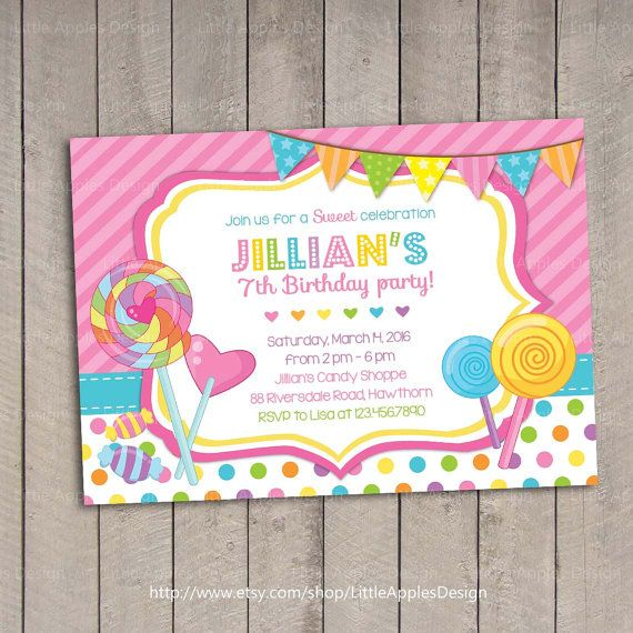 diy candy theme party - google search | party animals | pinterest, Party invitations