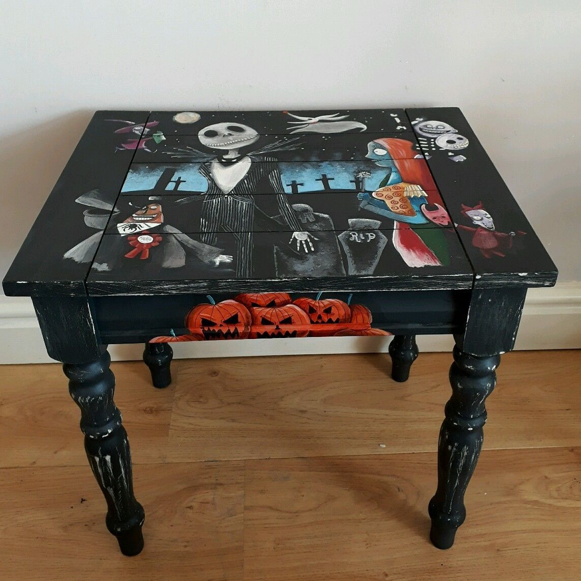 Hand Painted Nightmare Before Christmas Wooden Side Table In Home Furnitur Nightmare Before Christmas Halloween Furniture Nightmare Before Christmas Halloween