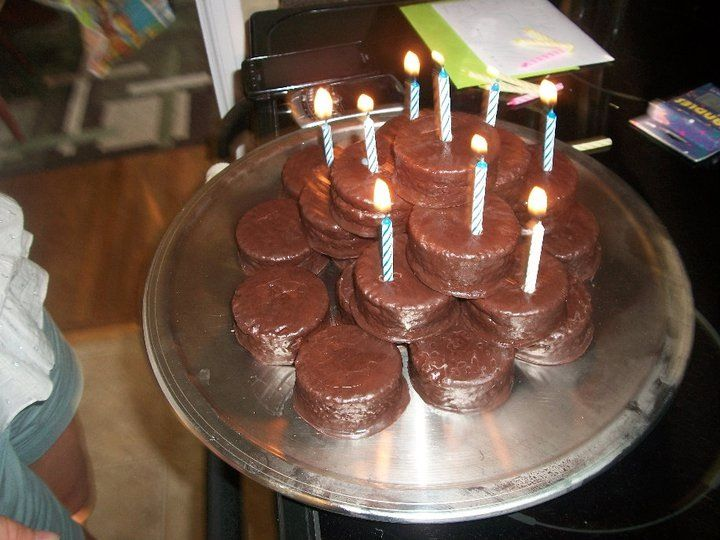 Magnificent Easy And Quick Birthday Cake Made With Hostess Ding Dongs Personalised Birthday Cards Veneteletsinfo