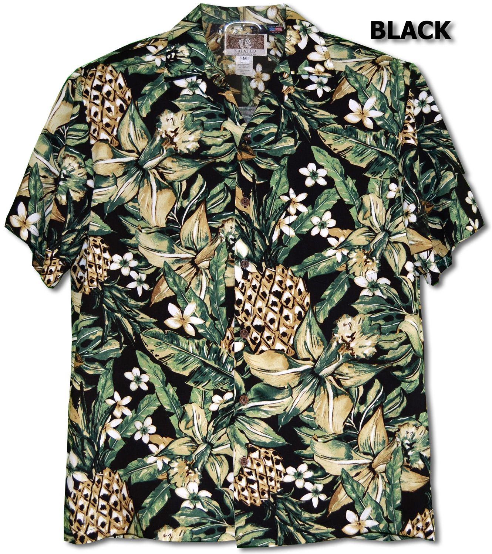 184ed7be Jungle Pineapple Men's Hawaiian Tropical Aloha RJC Kalaheo Label Shirt  created in Black, White and Blue. Made in Hawaii. Free shipping from Maui,  Hawaii.