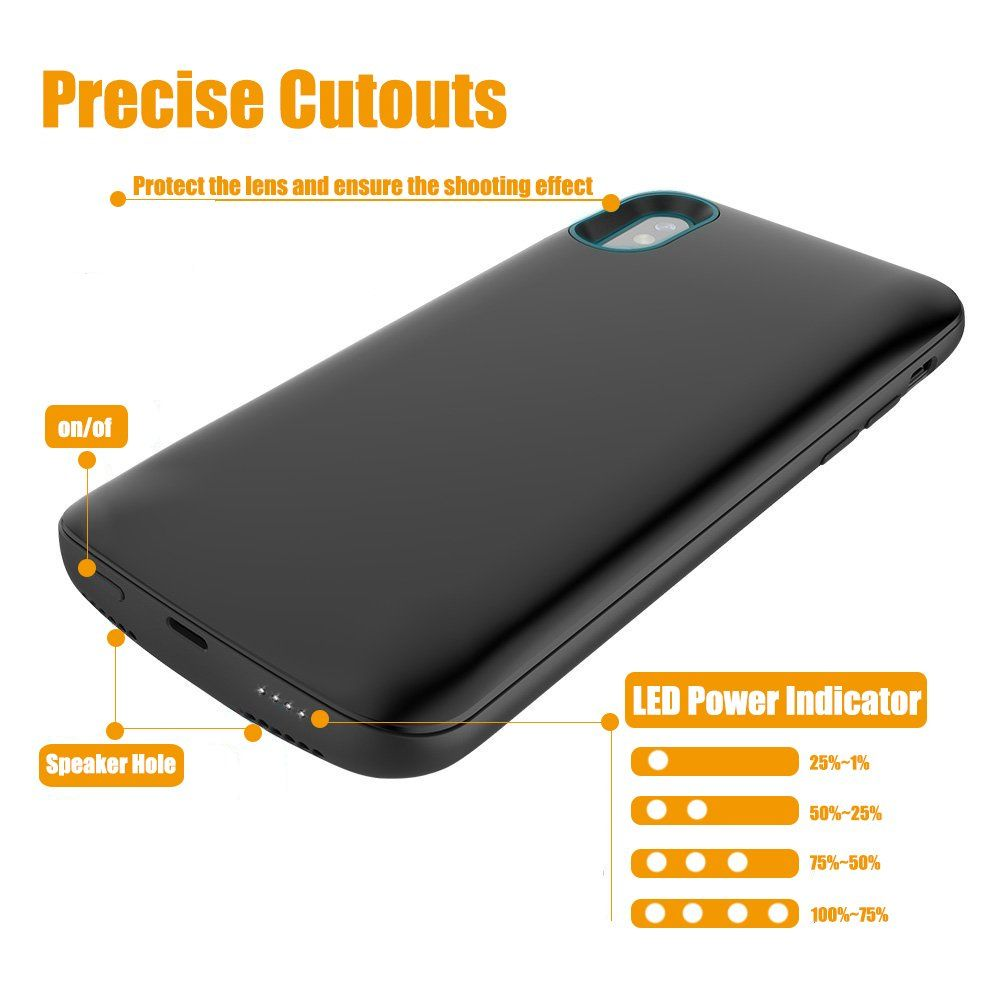 buy online 5e246 5f15c iPhone X Battery Case Bwealth 6000mAh Rechargeable Extended Charger ...