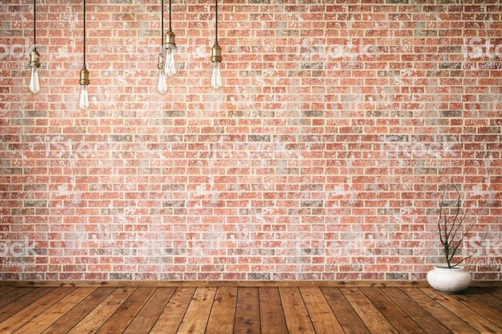 Empty Brick Wall With Edison Lights Brick Wall Brick Wall