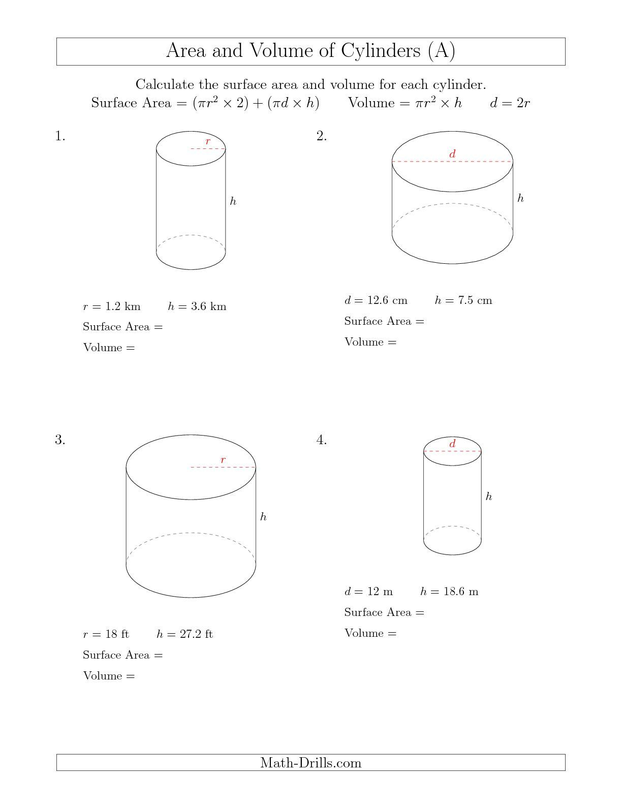 Calculating Surface Area and Volume of Cylinders (A) Measurement Worksheet    Volume worksheets [ 1584 x 1224 Pixel ]