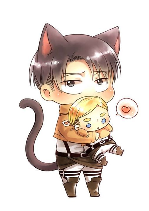 Neko Levi Holding Chibi Erwin By Artist Keluy 983775 Attack On Titan Levi Anime Chibi Attack On Titan Anime