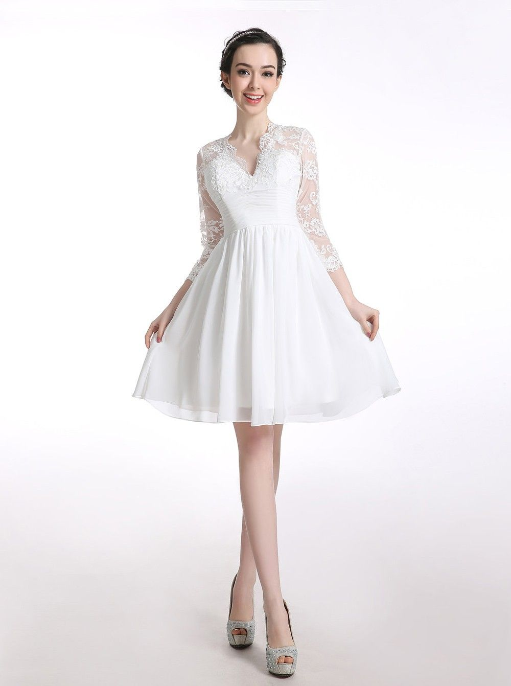 v-neck chiffon long sleeves white short homecoming/prom