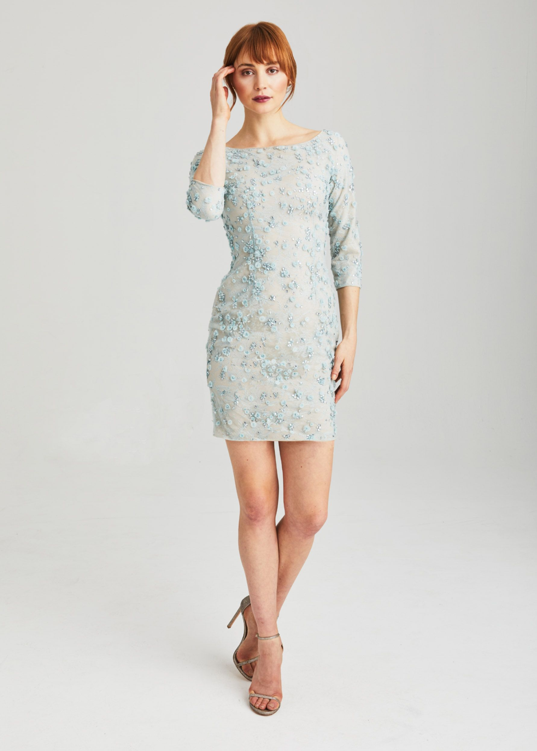 Anne barge black label long sleeve cocktail dress with jewel