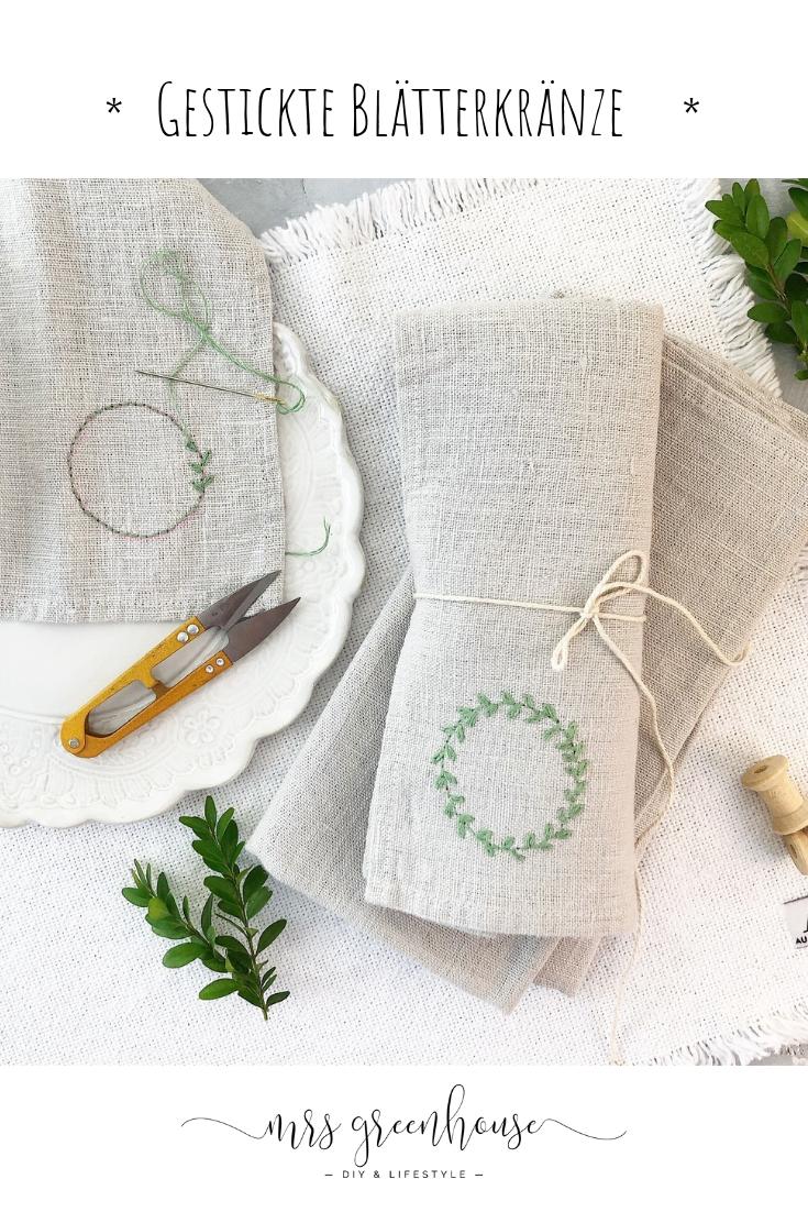 Feine Blätterkränze auf Leinen gestickt - 10 Minuten DIY | Mrs Greenhouse - DIY Blog mit kreativen Anleitungen zum Selbermachen