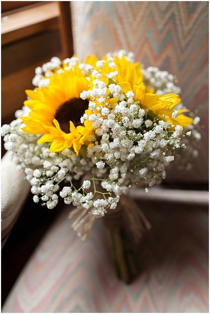 Intimate Cabin Wedding Sunflower Wedding Bouquet Babys Breath Bouquet Wedding Fresh Wedding Flowers