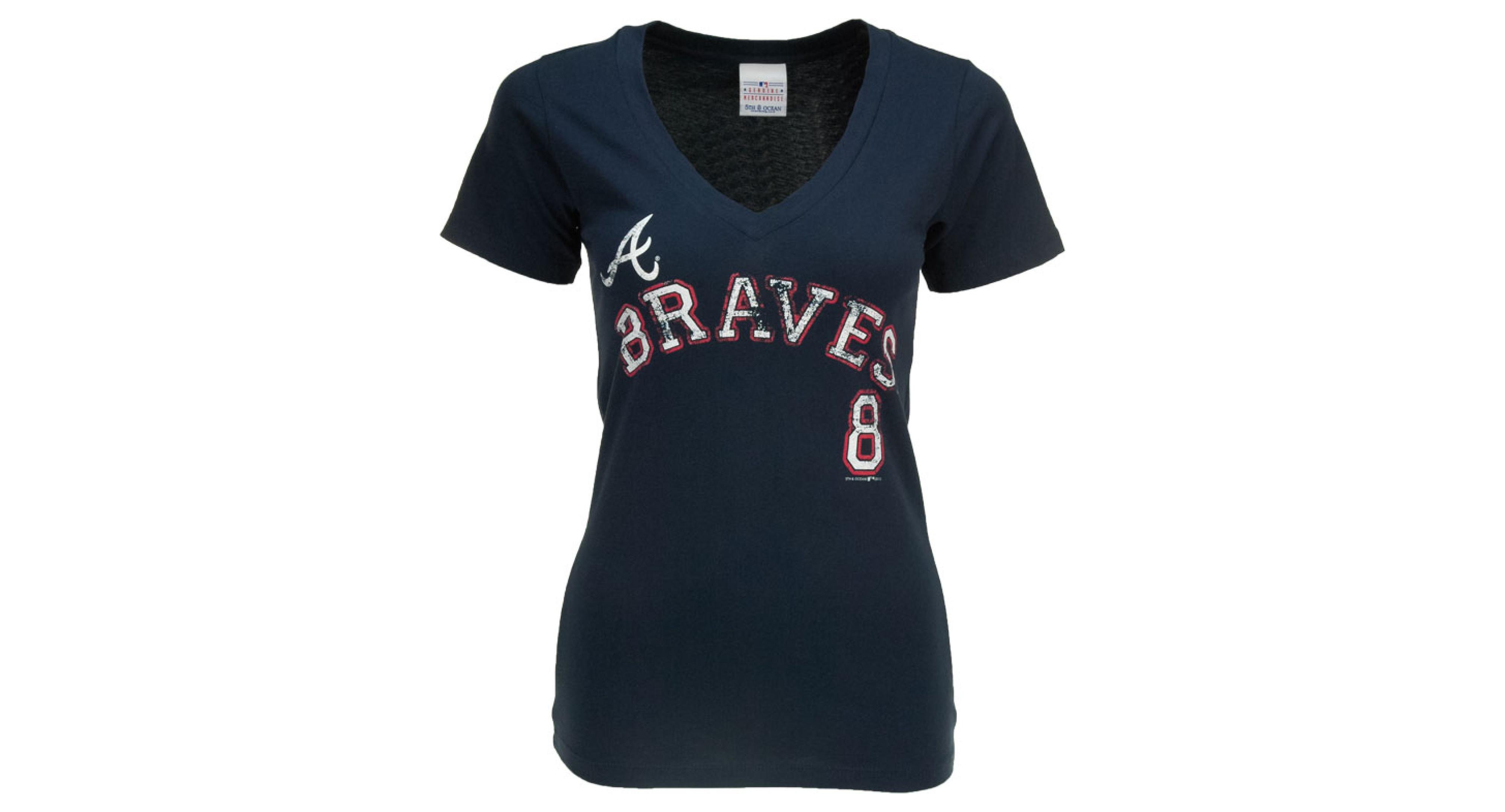 5th Ocean Women S Atlanta Braves Justin Upton Sugar Player T Shirt Atlanta Braves Women Shirts