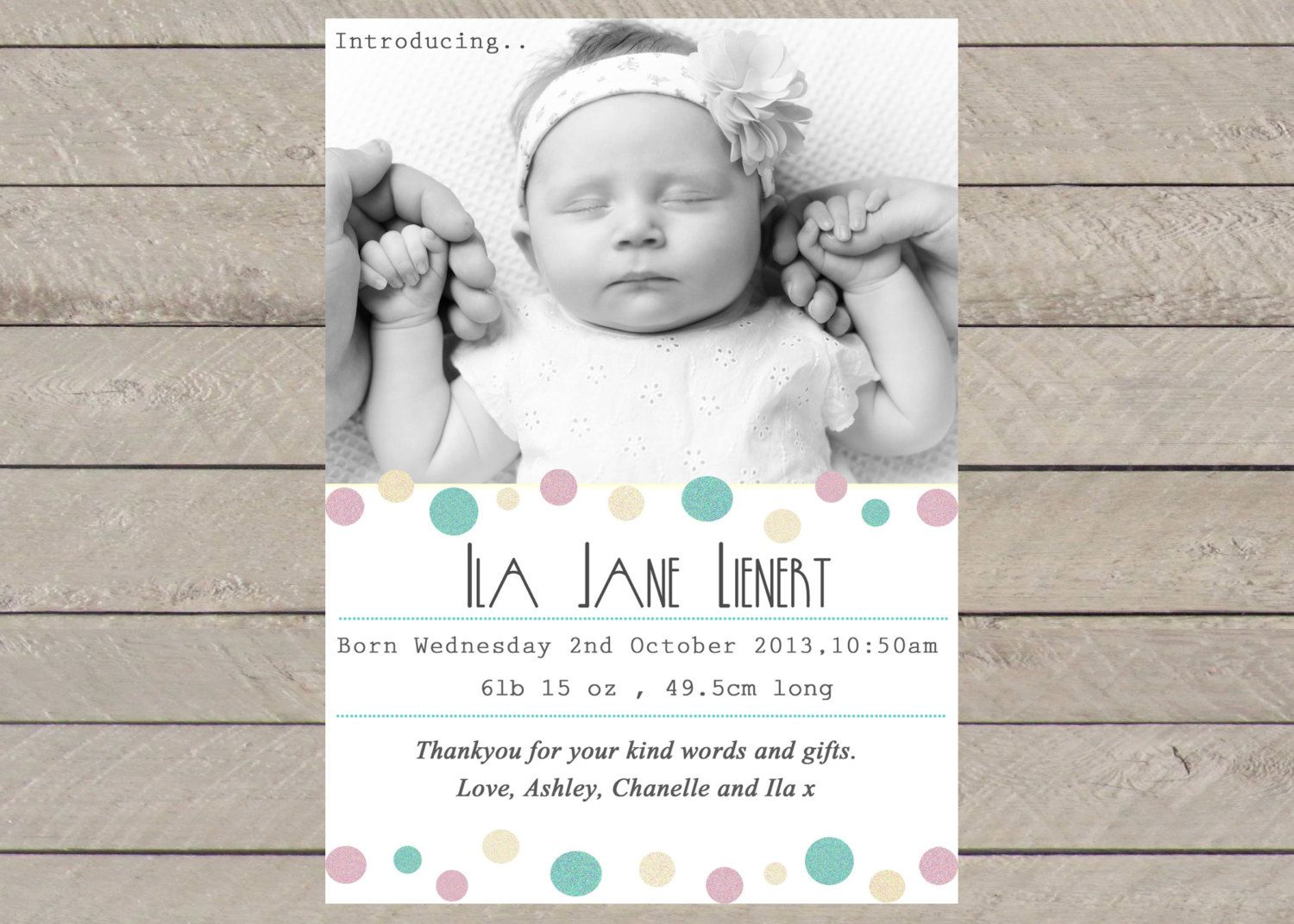 Baby Girl Birth Announcement ~ PRINT YOURSELF ~ Birth Announcements ...