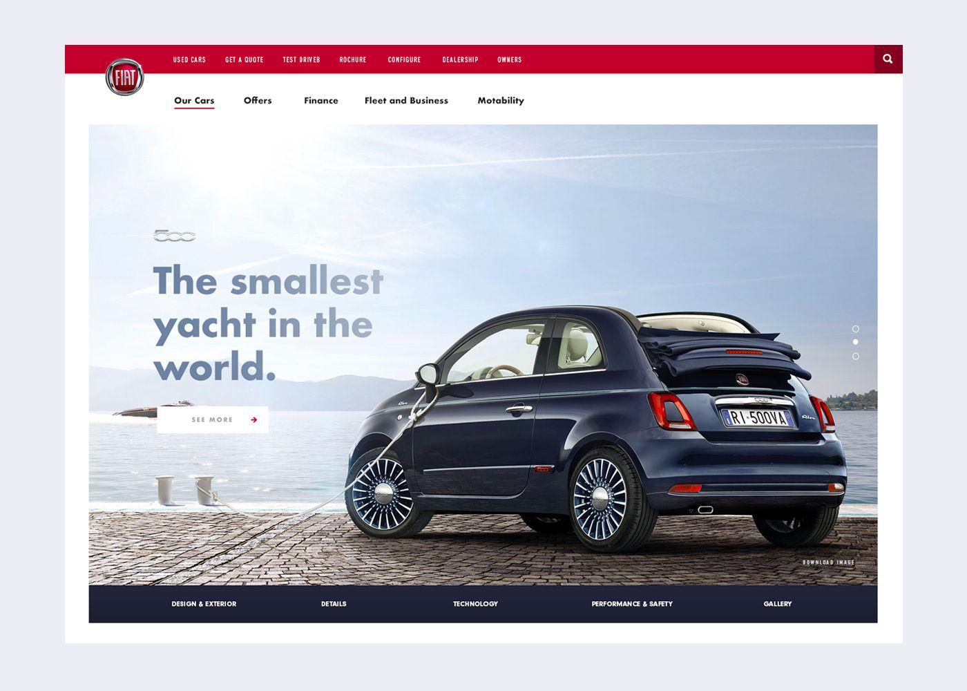 Ознакомьтесь с этим проектом Behance Fiat Riva Promo - Fiat 500 website