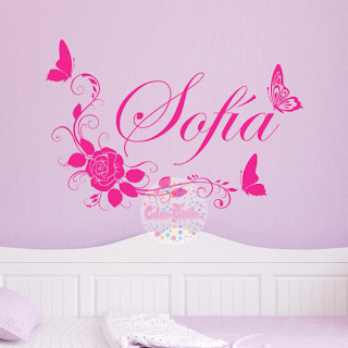 Vinilo decorativo para pared floral mariposas nombre cdm for Vinilos para enchufes