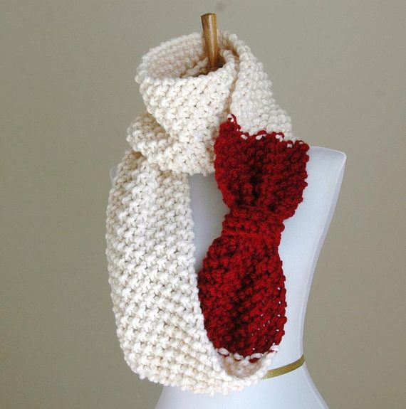 Cranberry Red and Cream Knit Scarf, Chunky Scarf, Hand Knit Infinity ...
