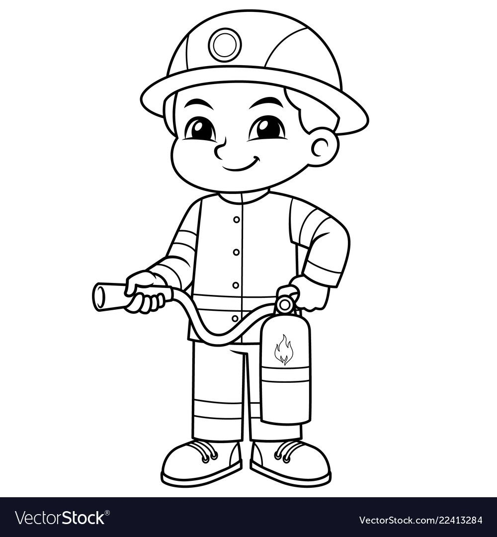 Fire Fighter Boy Ready To Spray With Fire Extinguisher Bw Download A Free Preview Or High Quali Firefighter Art Firetruck Coloring Page Cartoon Coloring Pages