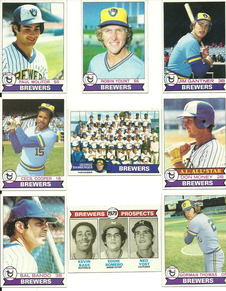 Vintage 1979 Topps Brewers Team Set 27 Cards 2 Hof Yount Molitor Team Card Money Milwaukeebrewers Brewers Milwaukee Brewers Brewers Baseball