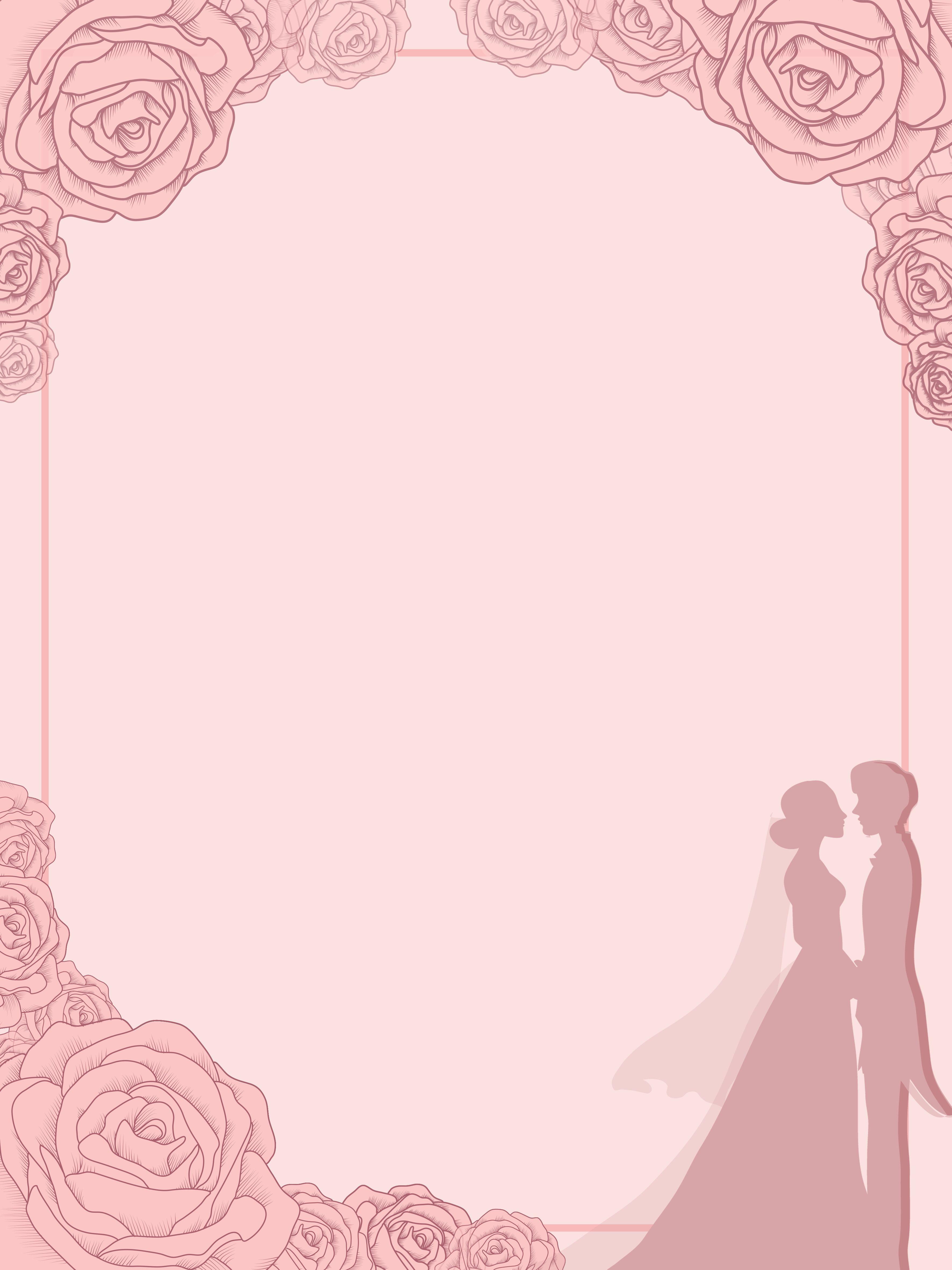 Hand Painted Pink Romantic Wedding Ceremony Invitation Background