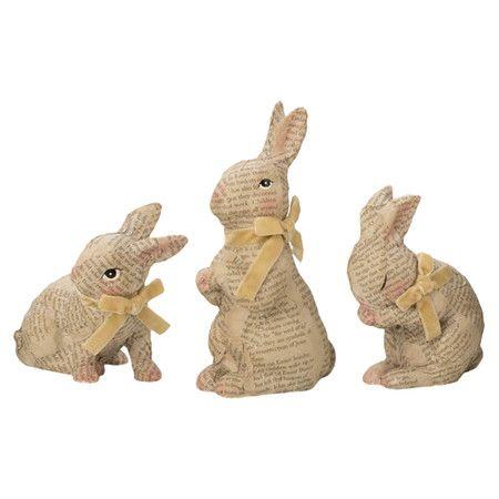 3 Piece Curious Bunny Statuette Set Easter Bunny Decorations Bunny Figurine Bunny Statue