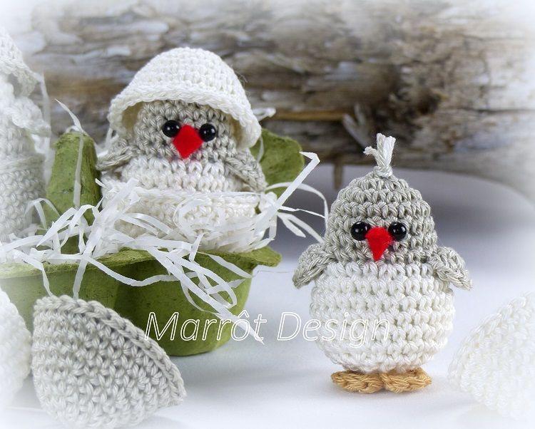 Marrot Design - Kuikentje in eierdop, #haken, gratis patroon, Nederlands, pasen, haakpatroon, amigurumi