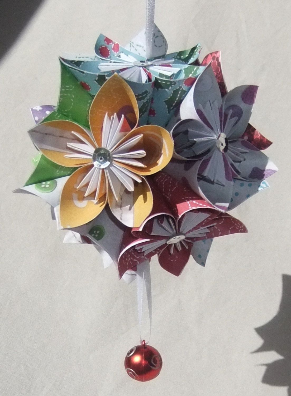 Origami Christmas Flower Ball Origami Tutorial Lets Make It