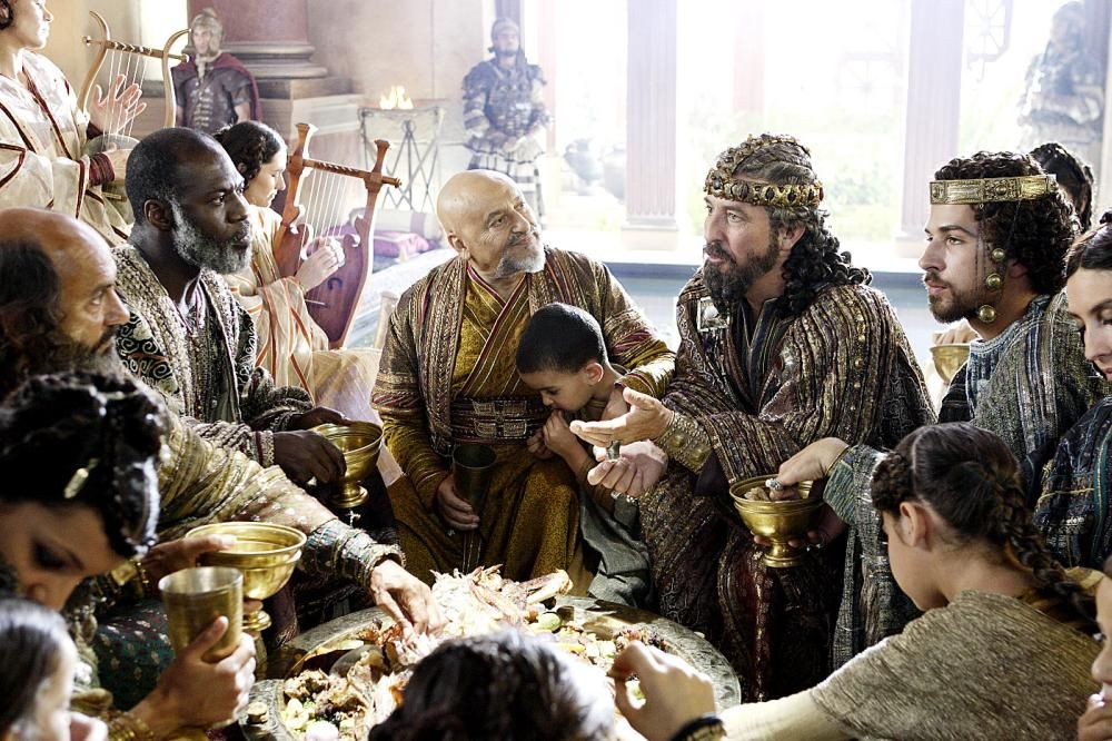 The Nativity Story movie, the banquet scene, eating at