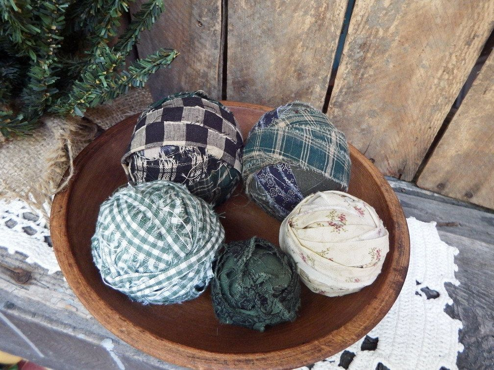 Green Rag Balls Fabric Balls Christmas Bowl Fillers Primitive Simple Decorative Balls For Bowls Green