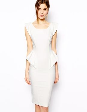 5634647c9f White ASOS Pencil Dress With Structured Peplum   ASOS  60