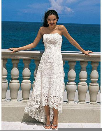 Affordable Casual Summer Strapless Lace High Low Beach Wedding Dresses Us 125 98