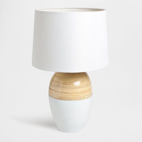 lamp met bamboe voet lampen slaapkamer zara home. Black Bedroom Furniture Sets. Home Design Ideas